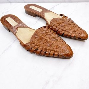 Michael Kors Brown Woven Leather Mules Shoes Flats